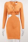 Mini vestido de club de manga larga con cuello en V y corte sexy de verano naranja
