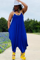 Summer Plus Size Casual Blue Strap Loose Jumpsuit