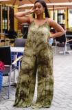 Mono holgado con tirantes verdes y tie dye informal de talla grande de verano
