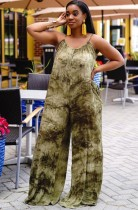Summer Plus Size Casual Tie Dye Green Strap Loose Jumpsuit