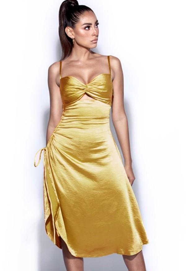 Sommer formelle gelbe geraffte Strings Riemen langes Kleid