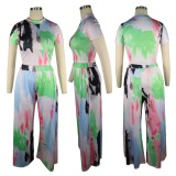 Summer Casual Paits Crop Top and Wide Pants 2PC Set