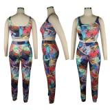 Conjunto de pantalones de cintura alta y top corto sexy con estampado de verano