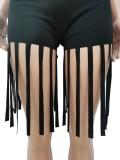 Conjunto de combinação 2 peças de top curtos sexy preto de verão e shorts com franjas