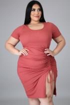 Yaz Büyük Beden Pembe Dantelli İpli Bodycon Elbise