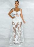 Vestido de malla larga con correa ancha floral blanca sexy de verano