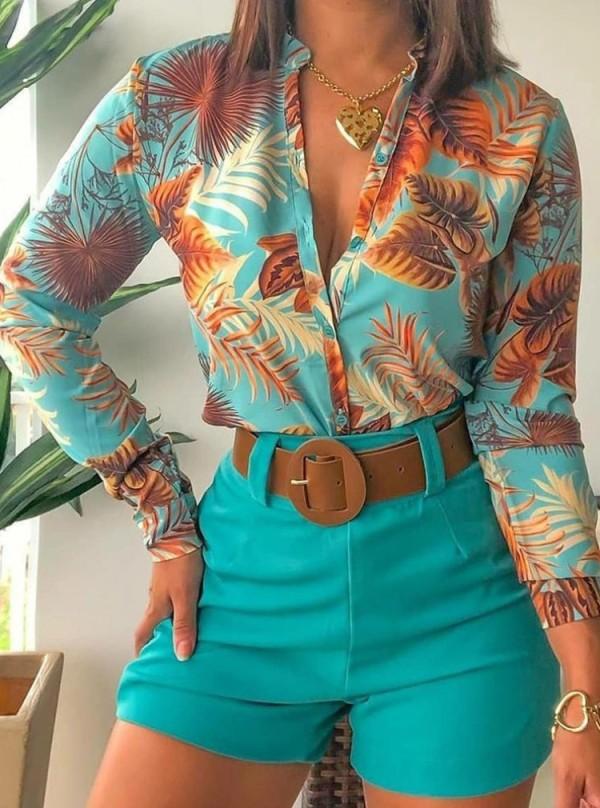 Summer Formal Print Green Long Sleeve Blouse and Plain Shorts 2 Piece Set