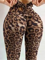 Sommersport Leopard Sexy Scrunch Gebundene Yoga Leggings