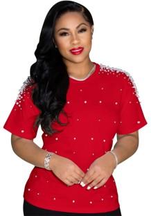 Camisa normal de verão casual com gola redonda vermelha com miçangas