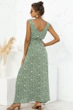 Sommer lässig bedruckt grün ärmelloses langes Kleid mit V-Ausschnitt
