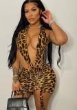 Minivestido halter con estampado de leopardo sexy de verano