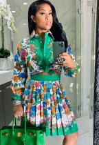 Summer Formal Green Floral Blouse and Pleated Skirt 2 Piece Set
