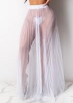 Falda larga plisada de malla blanca sexy de verano