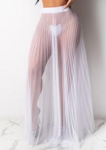 Летняя сексуальная белая длинная юбка в сеточку со складками