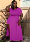 Summer Plus Size Purple Slit Long Shirt y Biker Shorts Conjunto de 2 piezas