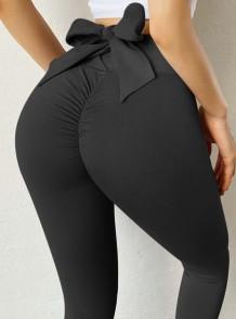 Leggings de yoga atados sexy negros de deportes de verano
