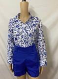 Conjunto de 2 piezas de blusa de manga larga azul con estampado formal de verano y pantalones cortos lisos