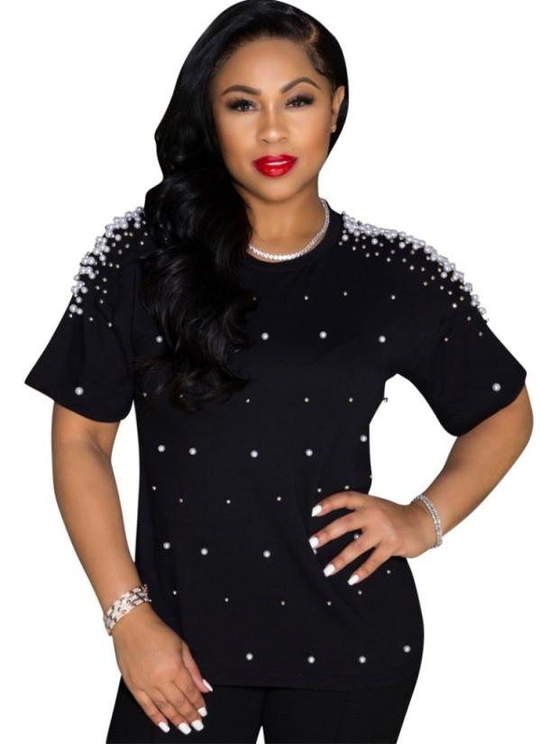 Sommer lässiges schwarzes Perlen-O-Ausschnitt-normales Hemd