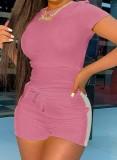 Conjunto de 2 piezas de camisa y pantalones cortos rosa informal de verano a juego