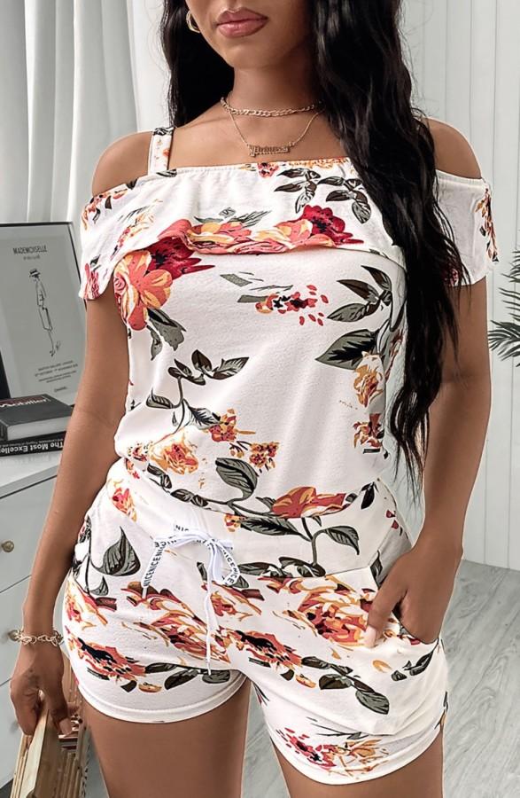 Conjunto de 2 piezas de pantalón corto y top con tirantes florales blancos casuales de verano