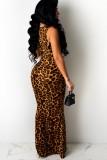 Vestido largo sin mangas de leopardo recortado sexy de verano