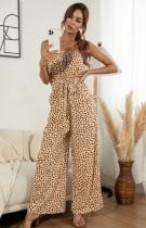 Summer Casual Print Beige Strapless Jumpsuit