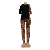 Summer Classy Leopard Top y pantalones 2 piezas