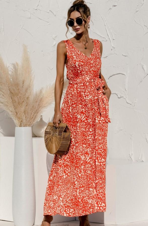 Vestido largo con cuello en V sin mangas naranja con estampado casual de verano