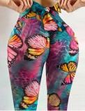 Leggings de ioga amarrados para esportes de verão borboleta sexy scrunch
