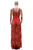 Vestido de malla larga con correa ancha floral roja sexy de verano