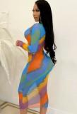 Vestido ajustado a media pierna sexy multicolor de verano con mangas completas
