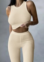 Summer Khaki Ribbed Basic Crop Top and Pants Two-Piece Set