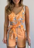 Pagliaccetti estivi casual con cinturino floreale con cintura abbinata