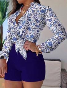 Conjunto de 2 peças de blusa de manga comprida azul estampado formal de verão e shorts simples