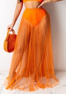 Летняя сексуальная оранжевая плиссированная длинная юбка в сеточку
