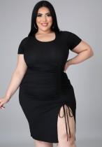 Vestido bodycon verão plus size preto com cordões franzidos