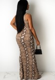 Sommer sexy ausgeschnitten Schlangenhaut ärmelloses langes Kleid