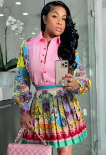 Conjunto de 2 peças de blusa formal rosa floral e saia plissada de verão