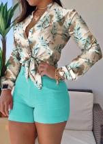 Sommer Formaler Print Hellgrüne Langarmbluse und einfarbige Shorts 2-teiliges Set