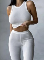Conjunto de dos piezas de pantalón y top corto básico acanalado blanco de verano