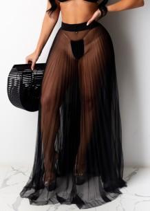 Летняя сексуальная черная длинная юбка в сеточку со складками