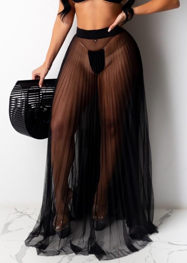 Sommer Sexy Black Mesh Plissee Langrock
