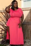 Summer Plus Size Pink Slit Long Shirt y Biker Shorts Conjunto de 2 piezas