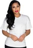 Camisa regular con cuello en O con cuentas blancas y casual de verano