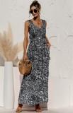 Vestido largo sin mangas con cuello en V negro con estampado informal de verano