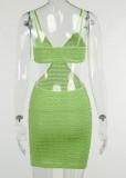 Sommergrün ausgeschnittener Riemen Minikleid