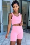 Sommer Casual Pink Weste und Biker Shorts Zweiteiliges Set
