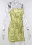 Mini vestido de tubo con volantes sin tirantes amarillo de verano