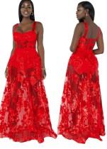 夏のセクシーな赤い花柄のワイドストラップロングメッシュドレス
