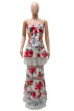 Summer Sexy Floral Bandeau Top y Maxi Falda Conjunto de dos piezas